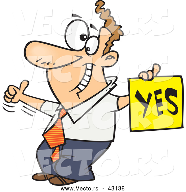 Vector of a Displeased Cartoon Man with a Thumb up Holding a YES Sign