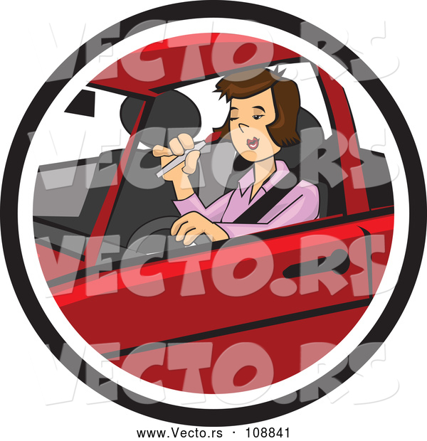 Vector of a Distracted Girl Applying Makeup While Driving Car