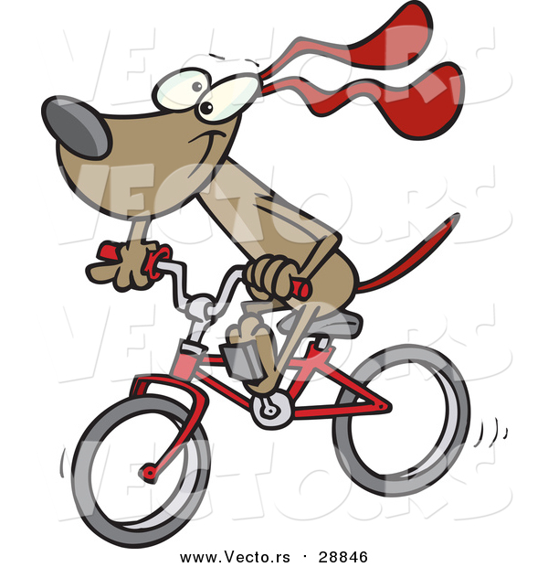 Vector of a Dog Character Riding a Red Bike - Cartoon Style