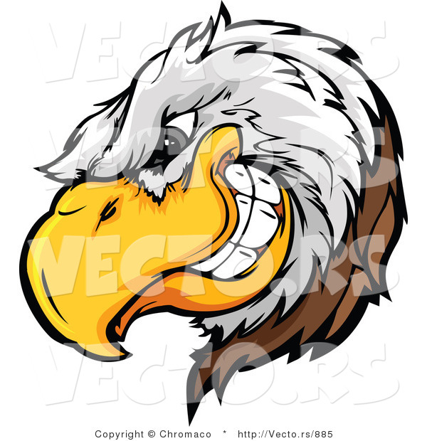 Vector of a Dominant Bald Eagle Mascot Grinning with Intimidating Evil Eyes