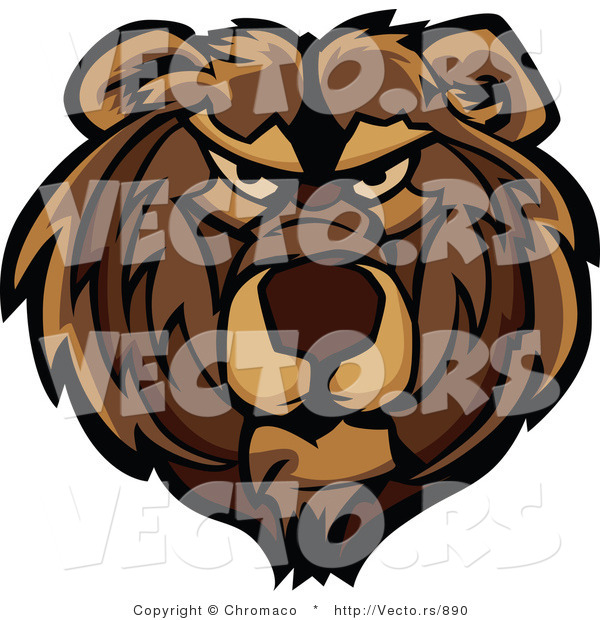 Vector of a Dominant Bear Mascot with Aggressive Look on His Face