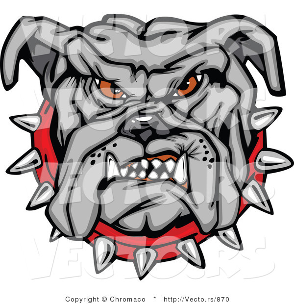 Vector of a Dominant Bulldog Mascot Growling with Intimidating Red Eyes and Spike Collar