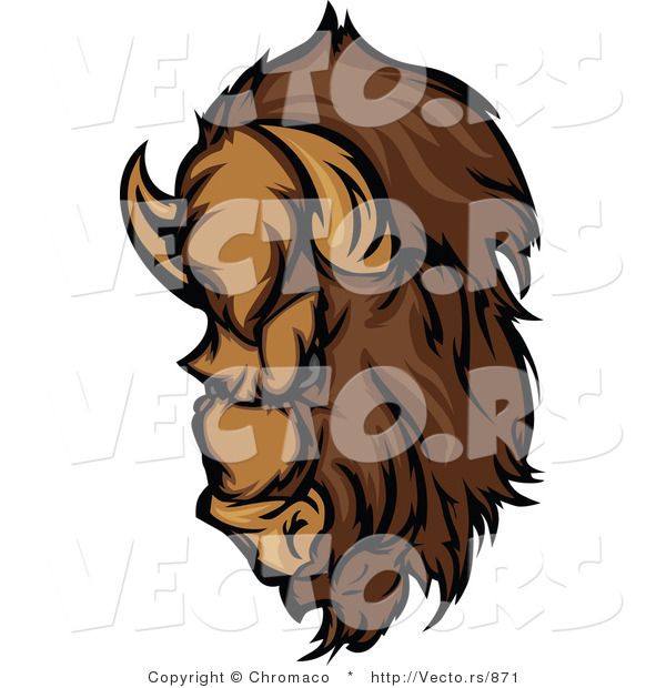 Vector of a Dominant Cartoon Buffalo Mascot with Intimidating Eyes Preparing to Charge