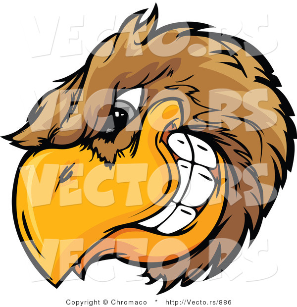 Vector of a Dominant Cartoon Golden Eagle Mascot Grinning with Intimidating Eyes