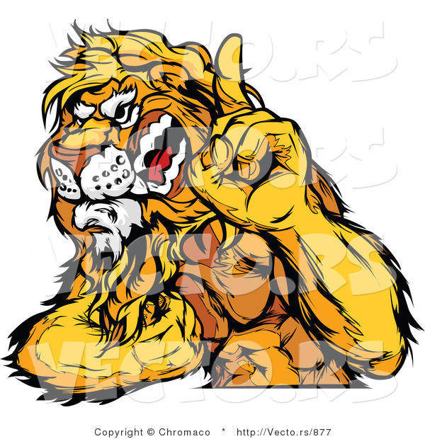 Vector of a Dominant Lion Mascot Flexing Muscles While Growling and Pointing Finger up