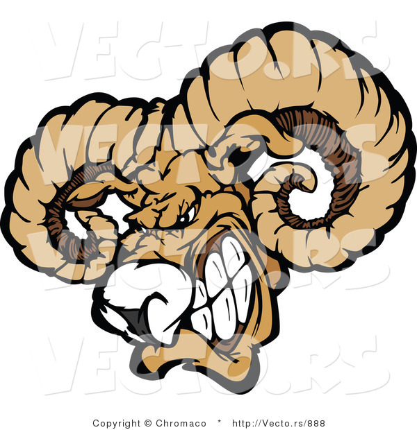Vector of a Dominant Ram Mascot Gritting Teeth and Preparing to Charge