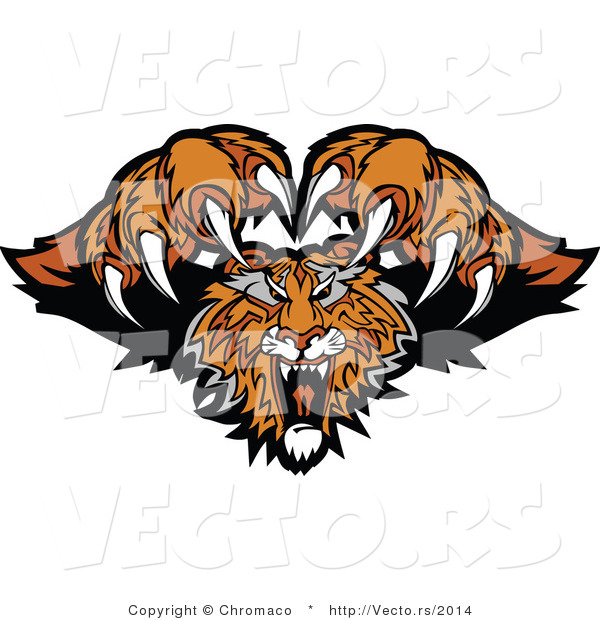 Vector of a Dominant Tiger Mascot Attacking with Fangs and Claws out