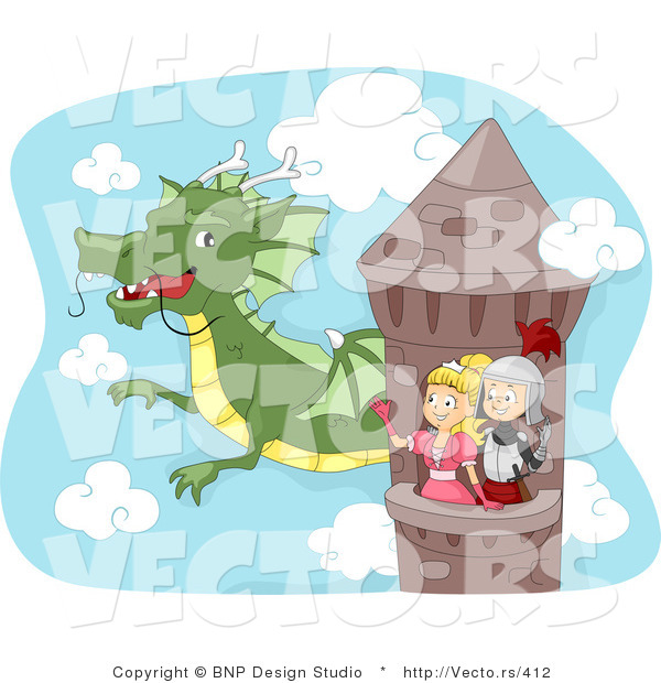 Vector of a Dragon Flying Around Tower with Young Cartoon Knight and Princess