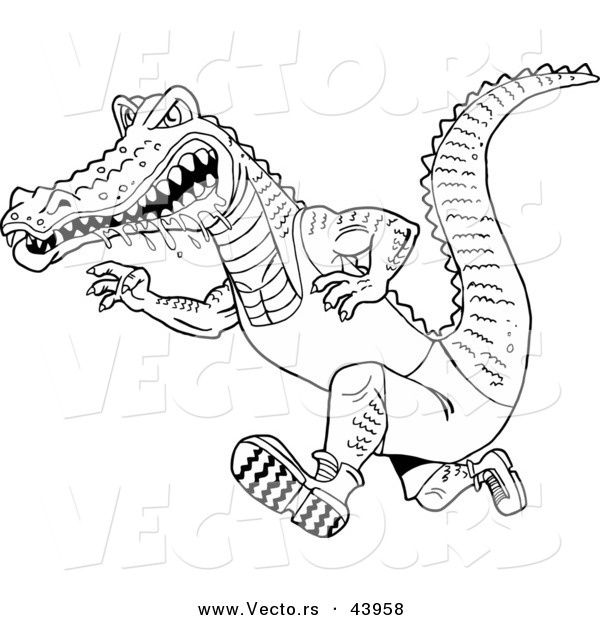 Vector of a Drooling Cartoon Alligator Running Fast - Coloring Page Outline