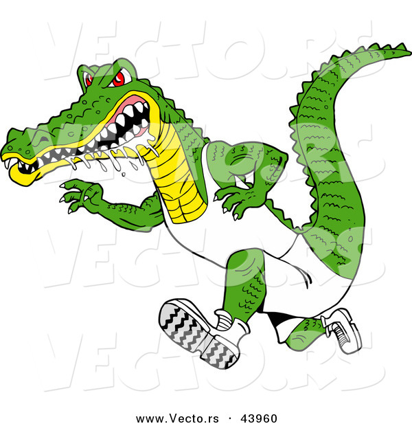 Vector of a Drooling Cartoon Alligator Running Really Fast with an Aggressive Look
