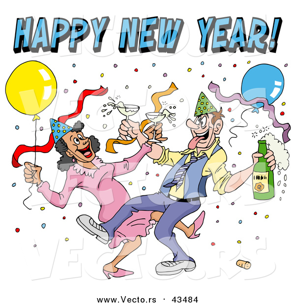 Vector of a Drunk Couple Wearing Party Hats and Dancing with Champagne Under Balloons and Confetti at a New Year Party