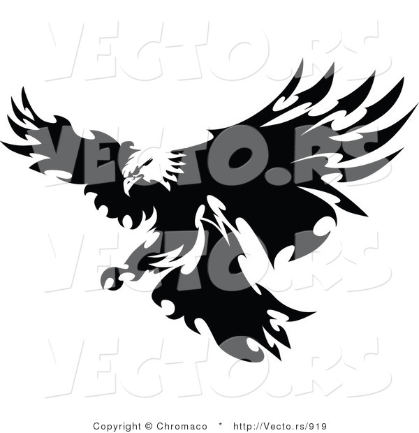 Vector of a Eagle with Razor Sharp Feathers Targeting Prey on Land - Silhouette