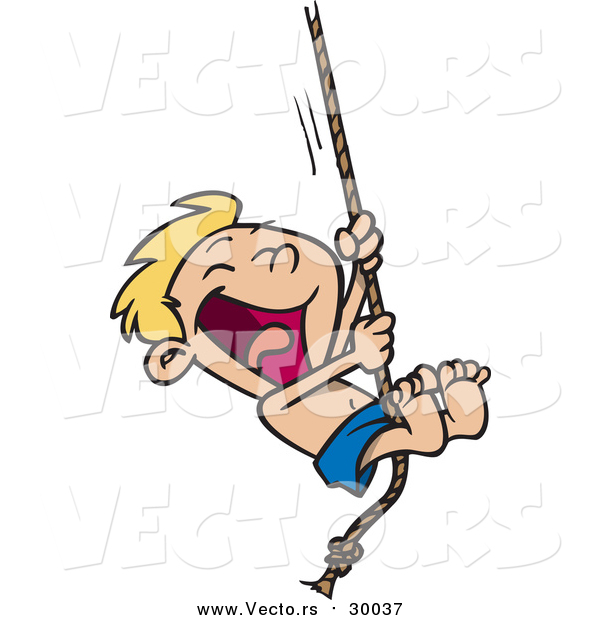 Vector of a Excited Boy Singing on a Rope - Cartoon Summer Style