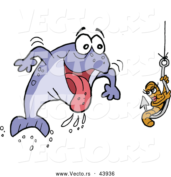 Vector of a Excited Cartoon Male Fish Rushing Towards a Female Worm on a Hook