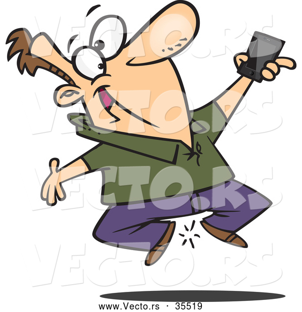 Vector of a Excited Cartoon Man Jumping up and down While Holding His Cell Phone