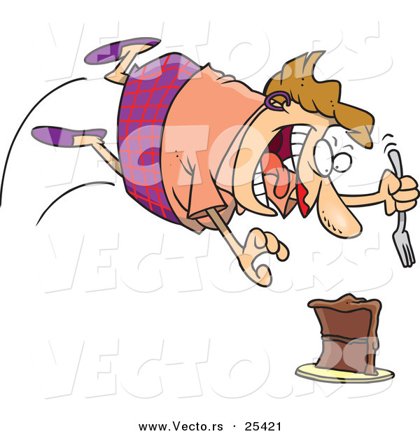 Vector of a Excited Cartoon Woman Diving Towards a Chocolate Cake with a Fork