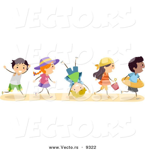 Vector of a Excited Diverse Group of Kids Running to the Beach