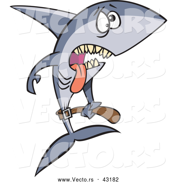 Vector of a Exhausted Cartoon Anorexic Shark Starving and Underweight