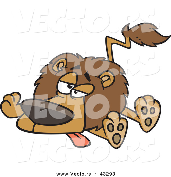 Vector of a Exhausted Cartoon Lion Laying on Ground with Legs and Tongue out
