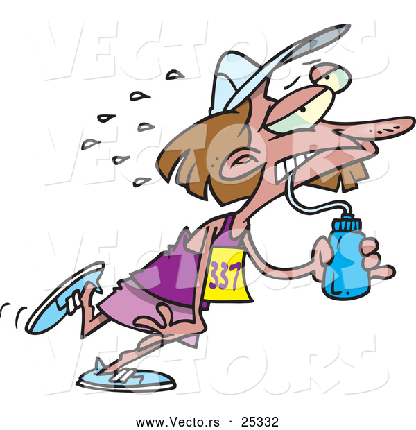 Vector of a Exhausted Cartoon Woman Running a Marathon While Drinking Water