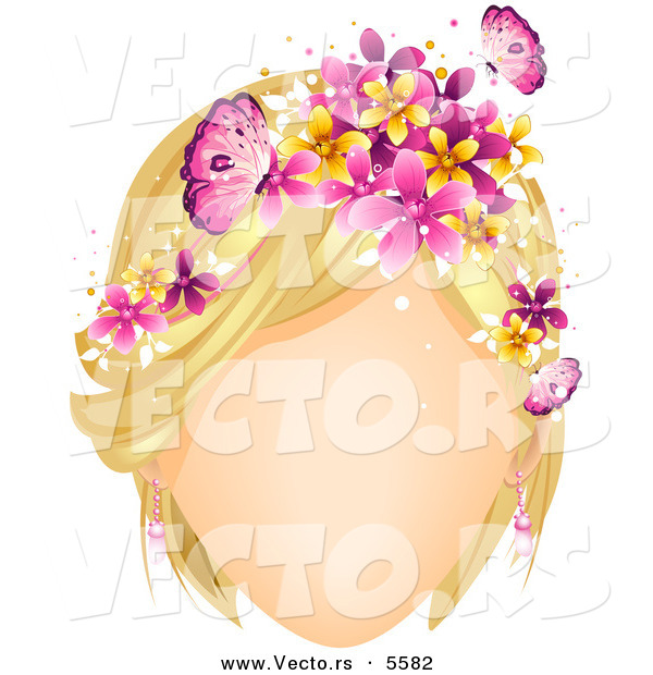 Vector of a Faceless White Girl with Butterflies and Flowers Decorating Her Blond Hair