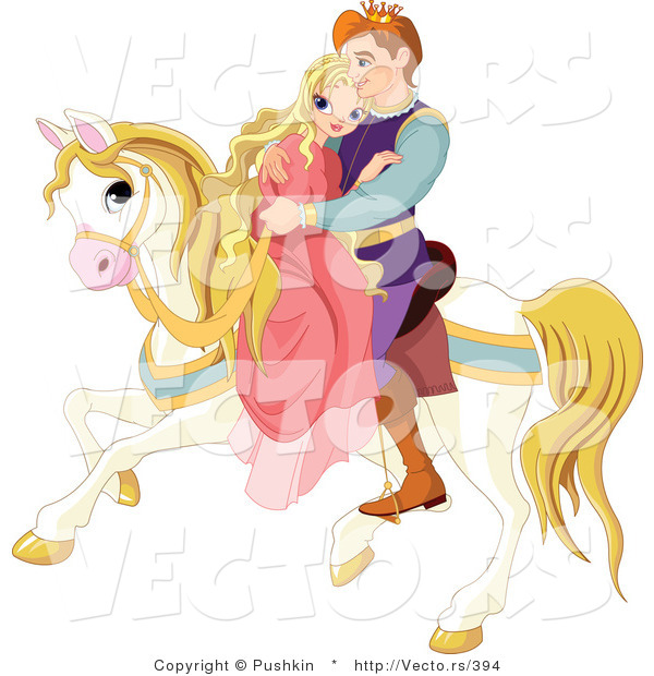 Vector of a Fairy Tale Prince Riding off with a Princess on a Horse