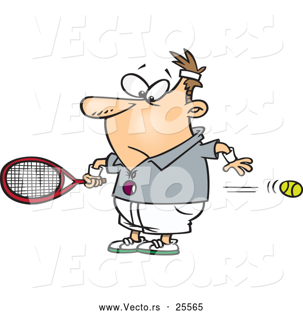 Vector of a Fast Cartoon Tennis Ball Flying by Slow Reacting Male Player