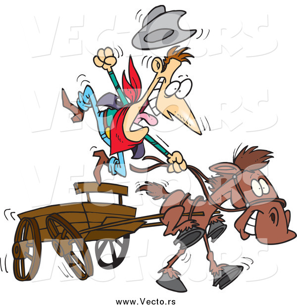 Vector of a Fast Horse Pulling an Old Fashioned Wood Wagon with an Excited Cowboy