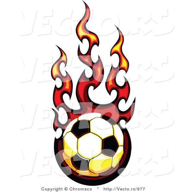 Vector of a Fast Soccer Ball Engulfed in Flames