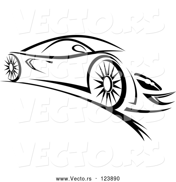 Vector of a Fast Sports Car - Black Lineart