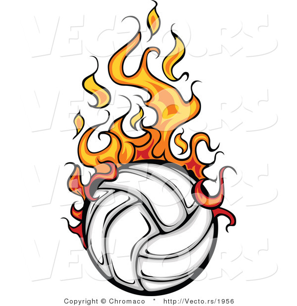 Vector of a Fast Volleyball with Trailing Flames
