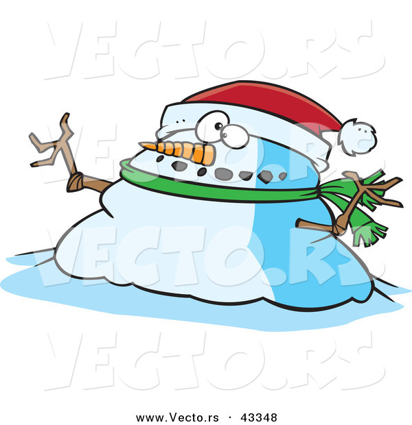 Vector of a Fat Cartoon Christmas Snowman Wearing a Santa Hat