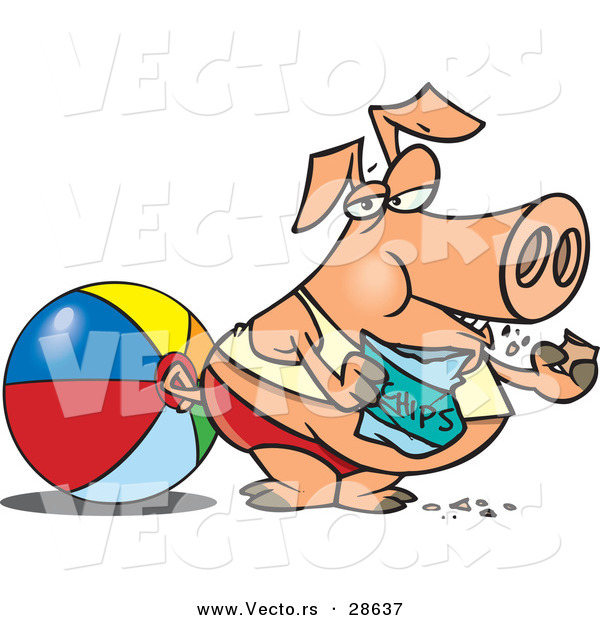 Vector of a Fat Cartoon Pig Eating Chips at the Beach Beside a Ball