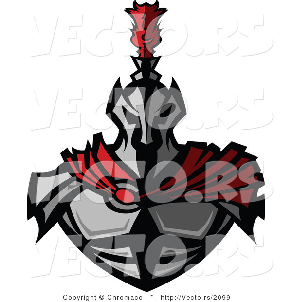 Vector of a Fearsome Knight Wearing Metal Armor and a Red Cape