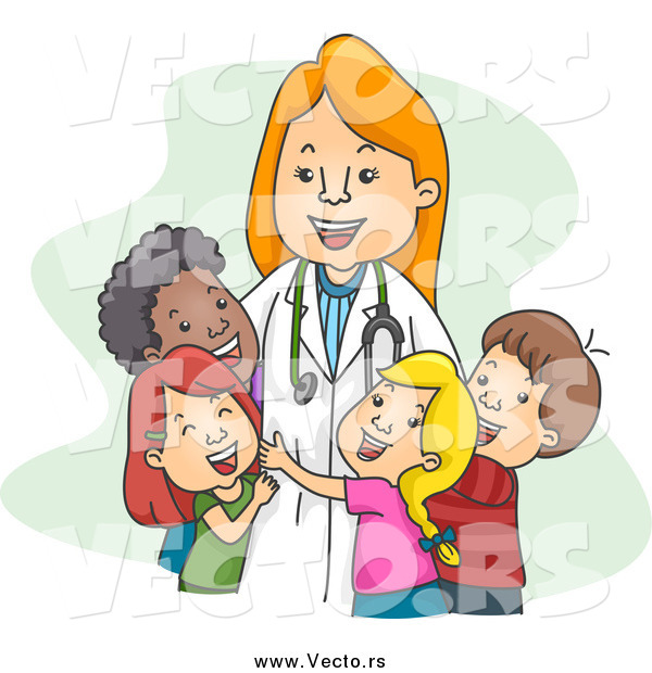 Vector of a Female Happy Pediatrician Doctor Hugging Her Patients
