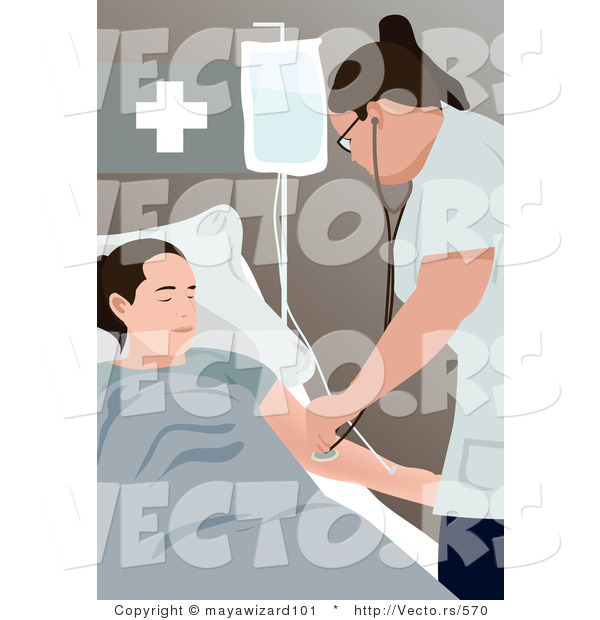 Vector of a Female Nurse Using Stethoscope on Patient in a Medical Room