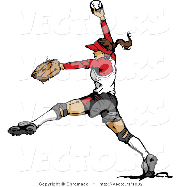 Vector of a Female Softball Baseball Pitcher Winding-Up to Throw Ball