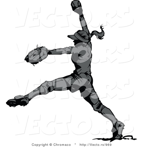 Vector of a Female Softball Player Pitching a Ball - Grayscale