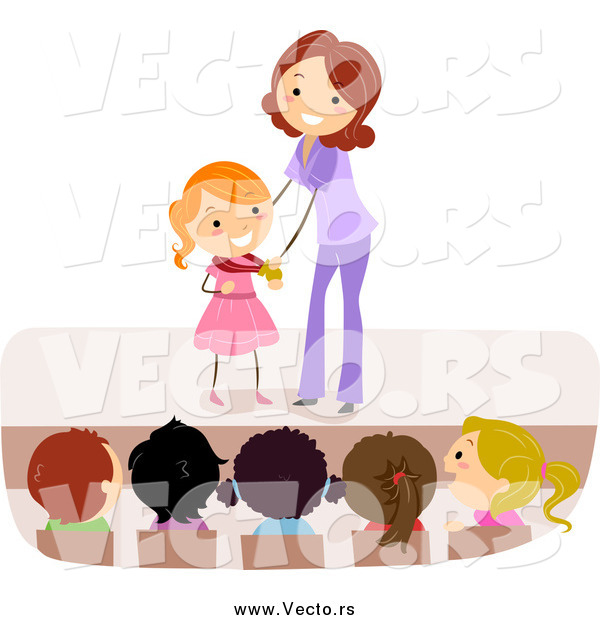 Vector of a Female Teacher Giving a Girl a Medal