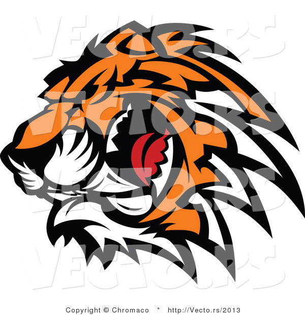 Vector of a Ferocious Tiger Mascot Preparing to Attack While Growling
