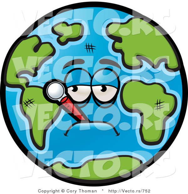 Vector of a Feverish Cartoon Earth with Thermometer in Mouth