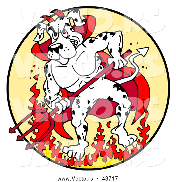Vector of a Fierce Cartoon Devil Dalmatian Dog Standing Aggressively Within Fire While Holding a Pitchfork