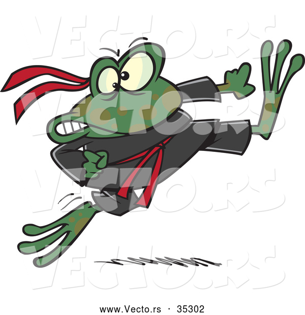 Vector of a Fierce Cartoon Ninja Frog Kicking