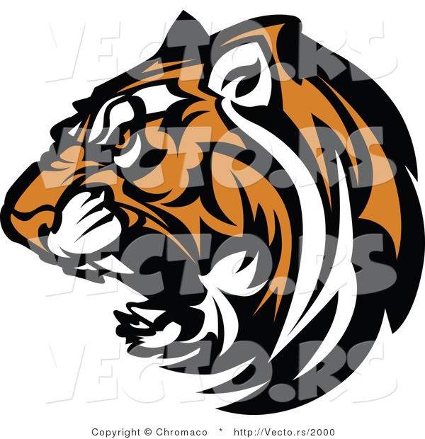 Vector of a Fierce Roaring Tiger Mascot