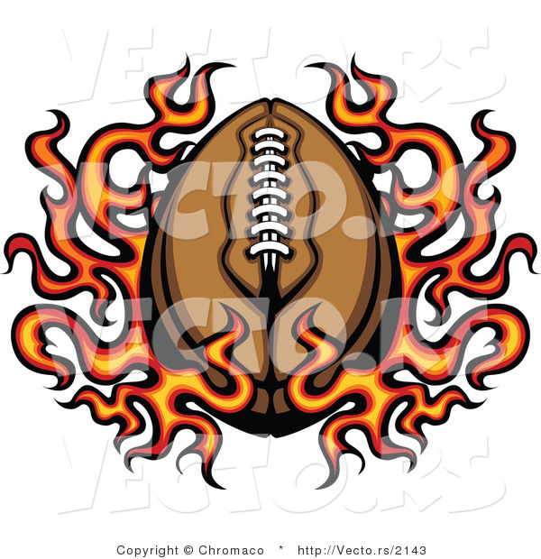 Vector of a Flaming American Cartoon Football