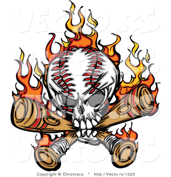 Vector of a Flaming Baseball Skull Chewing on Bats