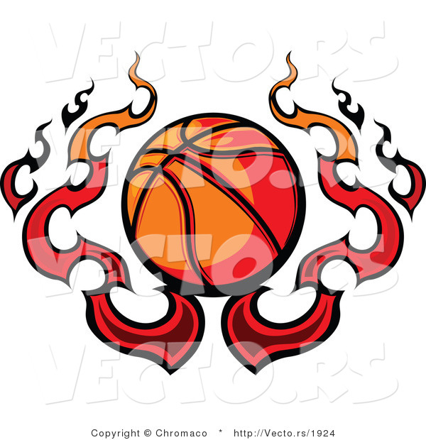 Vector of a Flaming Cartoon Basketball Design