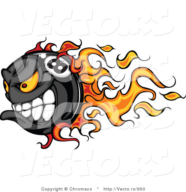 Vector of a Flaming Competitive Cartoon Billiards Eight Ball Mascot Speeding While Gritting Teeth