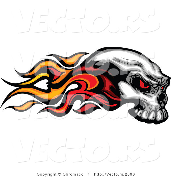 Vector of a Flaming Skull with Demonic Red Eyes