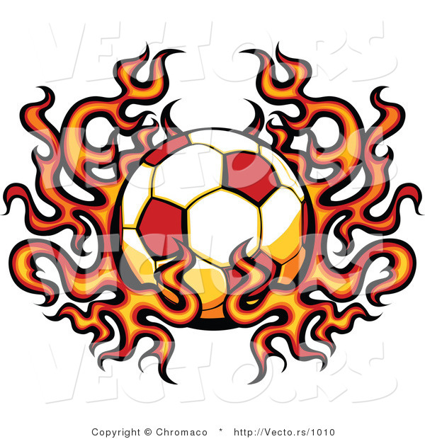 Vector of a Flaming Soccer Ball